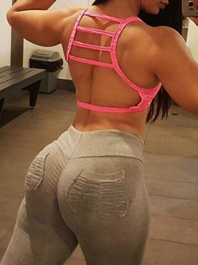 Grau Taschen Gefaltet Hohe Taille Yoga Bodycon Enges Push Up Leggings Damen