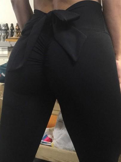 Leggings femme avec noeud papillon taille haute push up fitness yoga noir