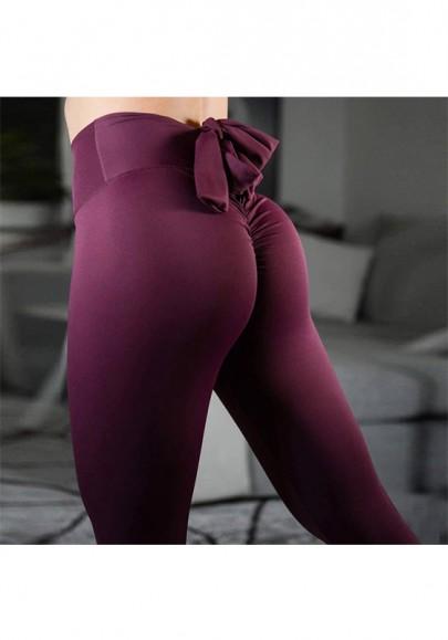 Wine Red Bow Elastic Waist Cotton Fashion Long Leggings