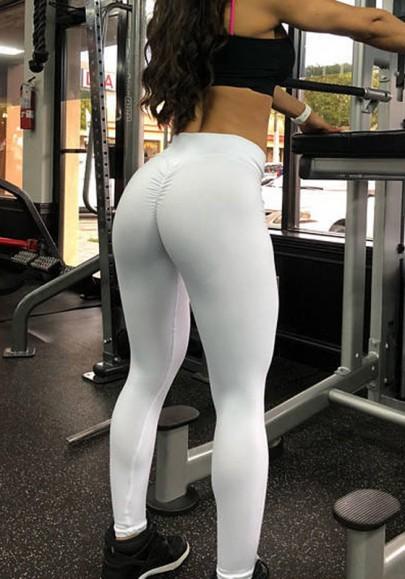più foto e4466 7a9b0 Leggings sport di allenamento yoga A vita alta pieghettati lunghi bianchi