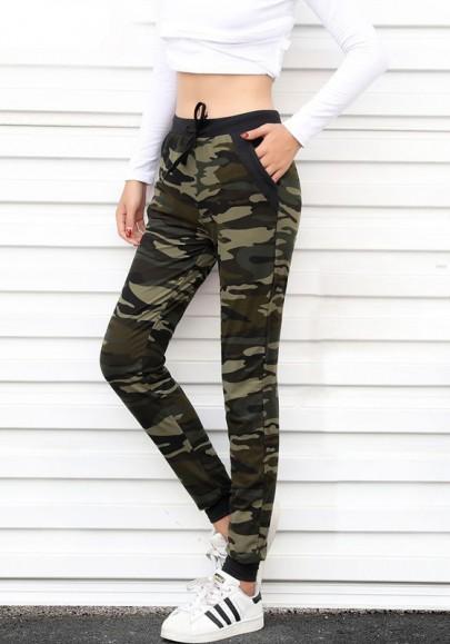 Armee-Grün Camouflage Kordelzug Hohe Taille Sports Lange Oversize Hose Damen Jogginghosen