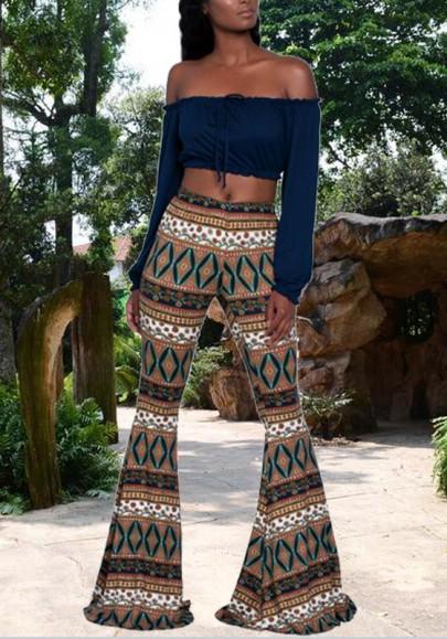 Golden Tribal Print Elastic Waist High Waisted Bell Bottoms Bohemian Flare Long Legging