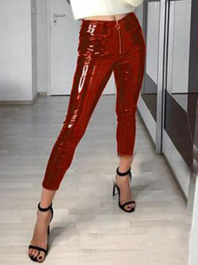 Rot Reißverschluss High Waisted Christmas Party PU-Leder Latex Lang Leggings Damen Hose