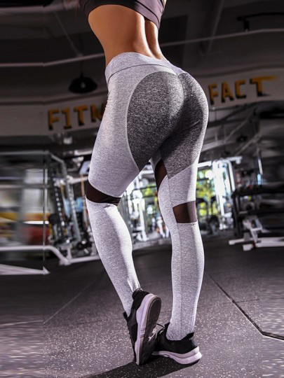 Hellgrau Heart Herz Muster Hohe Taille Stretch Schlank Sports Yoga Push Up Leggings Damen
