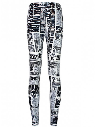 many styles luxury aesthetic moderate price White Newspaper Letter Bodycon High Waist Newsprint Workout Running Stretch  Yoga Legging Pants