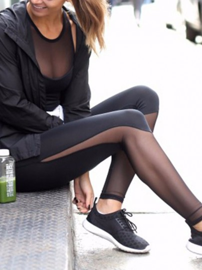 Schwarz Patchwork Mesh Cut Out Hohe Taille Stretch Yoga Fitness Sport Leggings Damen Mode