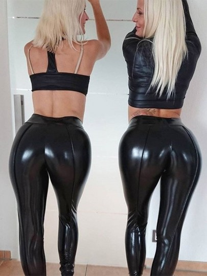 Schwarz Push Up High Waist Mode Skinny Yoga Fitness Sport Leder Latex Leggings Damen Hose