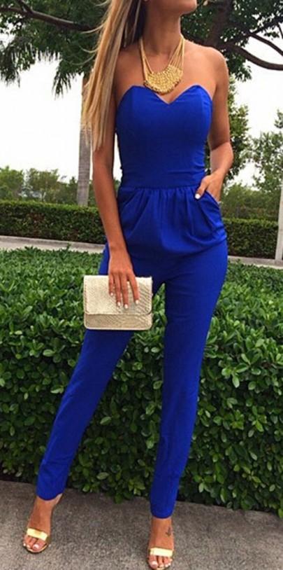 Mono llano bolsillos bandeau atractiva de largo azul