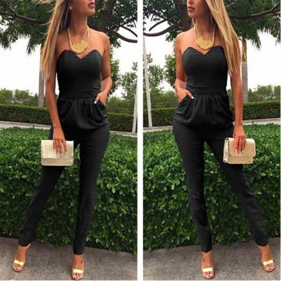 Schwarze geometrische binden zurück Ausschnitt trägerloses Rundhalsausschnitt Clubwear reizvolle Art und Weise lange Jumpsuit