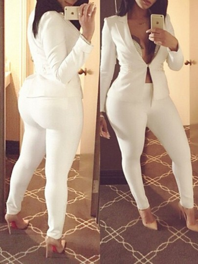 White Plain Long Sleeve Turndown Collar Loose Fashion Jumpsuit