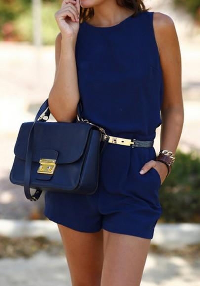 Blue Plain Cut Out Pockets Elastic Waist Mid-rise Short Jumpsuit