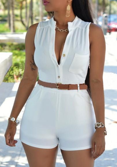 White Plain Belt Pockets Buttons Design High Waisted Fashion Short Romper