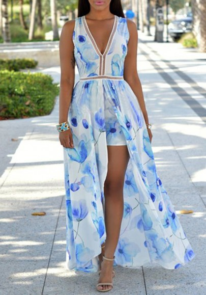 Light Blue Floral Print V-neck Plunging Neckline Backless Swallowtail Maxi Chiffon Romper with Maxi Overlay