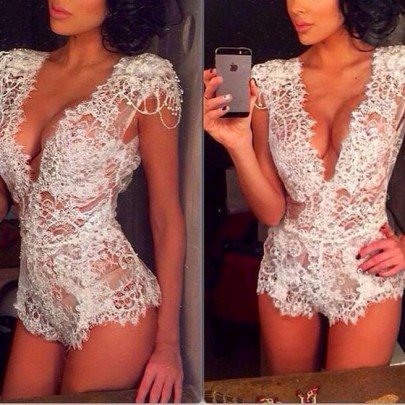 White Plain Lace Hollow-out Mid-rise Sexy Short Jumpsuit