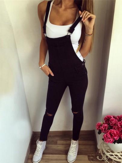 Salopette en jean déchiré bretelle moulante femme combinaison noir