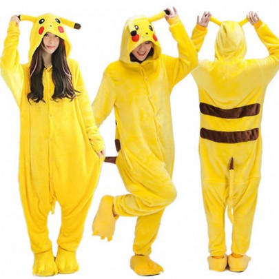 Jumpsuit poches pikachu d'impression breasted pyjamas tirette longues jaune