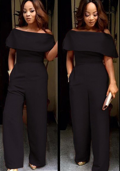 Black Plain Ruffle Boat Neck Off-shoulder High Waisted Wide Leg Long Jumpsuit