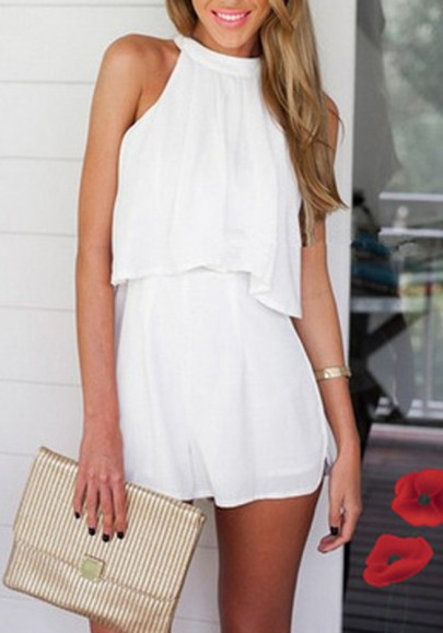 White Plain 2-in-1 Zipper Sewing Sexy Short Jumpsuit