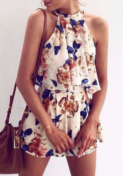 White Flowers Pleated Tie Back 2-in-1 Sexy Wide Leg Short Jumpsuit