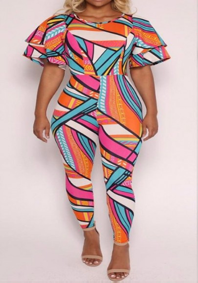 Multicolor Geometric Print Flutter Sleeve High Waisted One Piece Vintage Long Jumpsuit