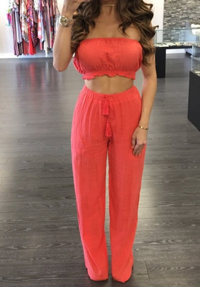 Red Ruffle Bandeau Drawstring Waist Two Piece Long Jumpsuit