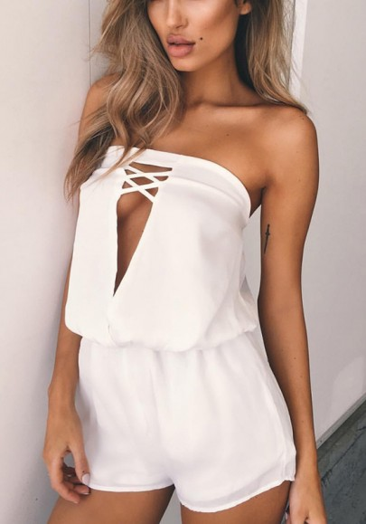 White Cut Out Hollow-out Bandeau Sewing Mid-rise Short Jumpsuit