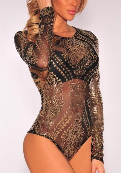 Black-Gold Floral Sequin Bronzing Long Sleeve Glitter