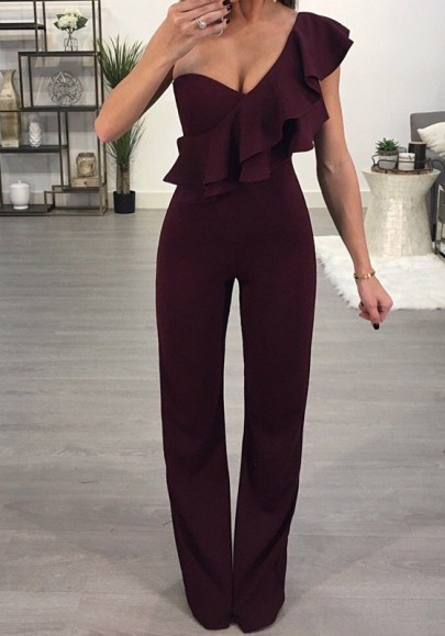 Burgundy Ruffle One-Shoulder High Waisted Wide Leg New Year Christmas Party Long Jumpsuit
