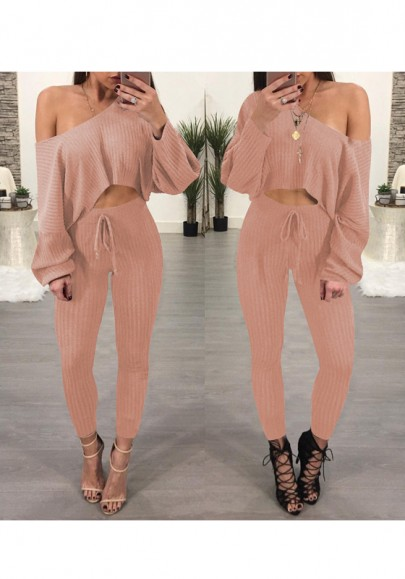 Pink Asymmetric Shoulder Midriff 2-in-1 Drawstring Waist Casual Long Jumpsuit