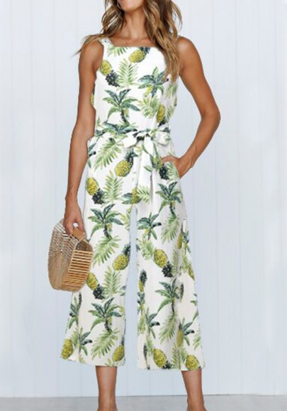 White Pineapple Pattern Pockets Sashes One Piece Bohemian Wide Leg Seven's Tropical Jumpsuit