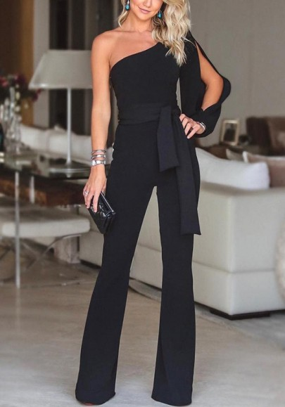 Black Asymmetric Shoulder Cut Out Drawstring Waist Long Jumpsuit