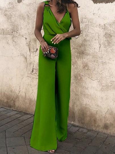 Green Cross Ruched Asymmetric Shoulder V-neck High Waisted Elegant Wide Leg Long Jumpsuit