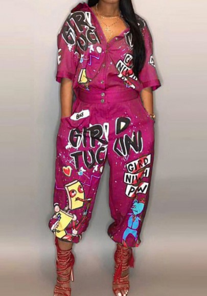 Rose Carmine Monogram Pockets Single Breasted One Piece Plus Size Oversized Streetwear Nine's Jumpsuit