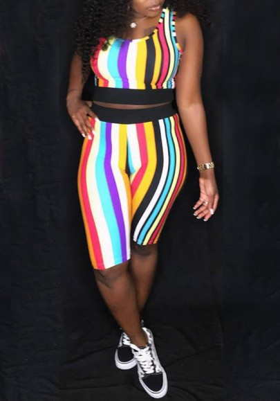 Yellow Striped Rainbow Shoulder-Strap Two Piece Casual Five's Jumpsuit