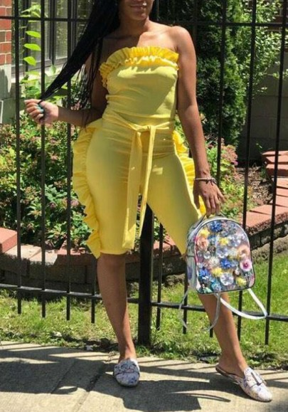 Yellow Ruffle Sashes Bandeau Off Shoulder Backless One Piece Clubwear Short Jumpsuit