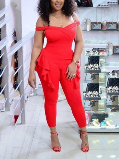 Red Ruffle Off Shoulder Backless Bodycon Elegant Party High Waisted Wide Leg Palazzo Jumpsuit