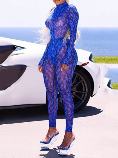 Blue Cold Fire Print Grenadine Bodycon Sheer Clubwear Party Jumpsuit