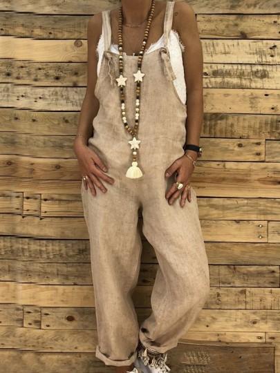 Pantalones bolsillos multifuncionales cintura normal mono boho casuales mexicano en general amarillo