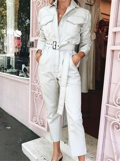 White Pockets Belt Buttons Long Sleeve Fashion Long Jumpsuit Pant