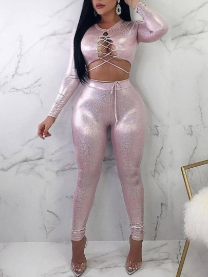 Pink Lumiere Two Piece Lace-up Sparkly Round Neck Long Sleeve Clubwear Long Jumpsuit