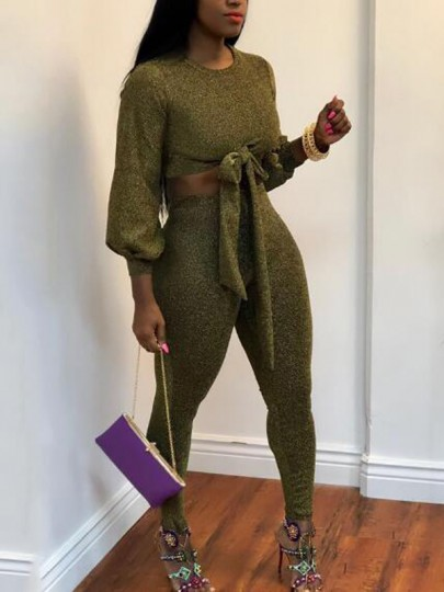 Green Bright Wire Sashes Bowknot Sparkly Two Piece Casual Long Jumpsuit