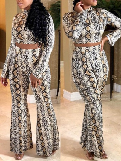 White Snake Print Two Piece Long Sleeve Bell Bottomed Flares Party Clubwear Long Jumpsuit