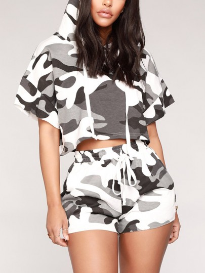 Multicolor Camouflage Short Sleeve Hooded Outdoors Two Piece Jogger Set Jumpsuit Pants