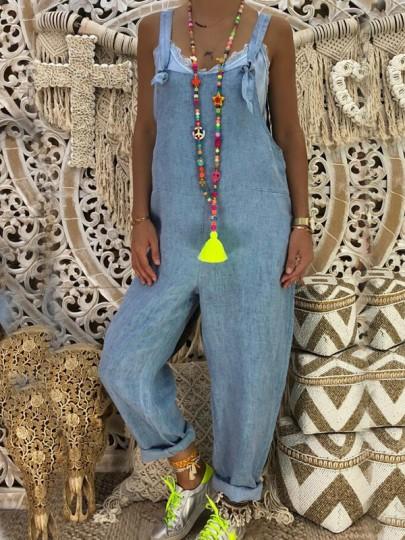Salopette en jean bretelle vintage décontracté ample femme denim combinaison bleu
