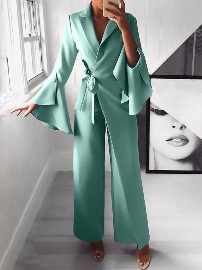 Light Blue Belt Irregular Bell Sleeve Elegant Party Wide Leg Palazzo Long Jumpsuit Pant
