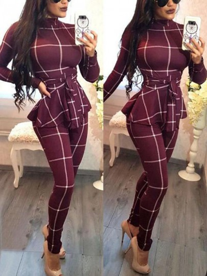 Burgundy Plaid Sashes Peplum Band Collar High Waisted Office Worker Elegant Long Jumpsuit