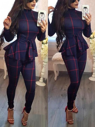 Dark Blue Plaid Sashes Peplum Band Collar High Waisted Office Worker Elegant Long Jumpsuit