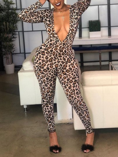 Leopard Print Scary Spice Bodycon Deep V-neck Long Sleeve Clubwear Party Long Catsuit Jumpsuit