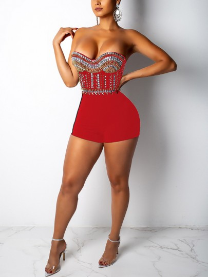 Red Patchwork Rhinestone Off Shoulder Backless Bodycon Sparkly Glitter Birthday Party Short Jumpsuit