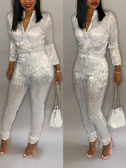 White Sequin Zipper Band Collar Long Sleeve Drawstring Waist Glitter Sparkly Long Jumpsuit Pants